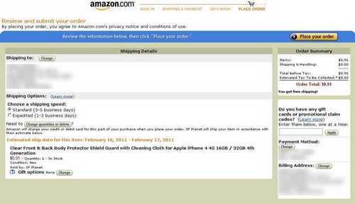 Amazon подтверждение оплаты