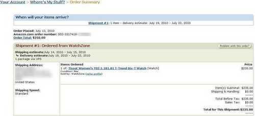 Заказ Amazon Tissot