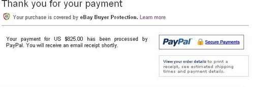 iphone на ebay, оплата совершена