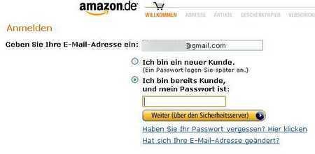 Amazon логин и пароль