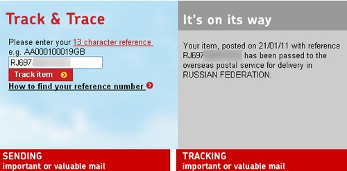 Royal Mail tracking number