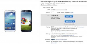 01 New Samsung Galaxy S4 - $639.99!
